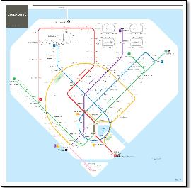 Singapore MRT & LRT train / rail map