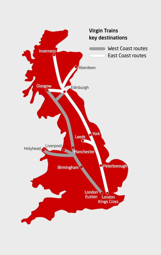 Virgin Trains East & West Coast train rail map